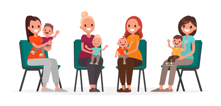 Group of young mothers with children are sitting on chairs. Courses postpartum depression. Vector illustration in flat style Illustration