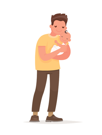Happy dad holds baby in his arms. Paternity. Vector illustration in flat style