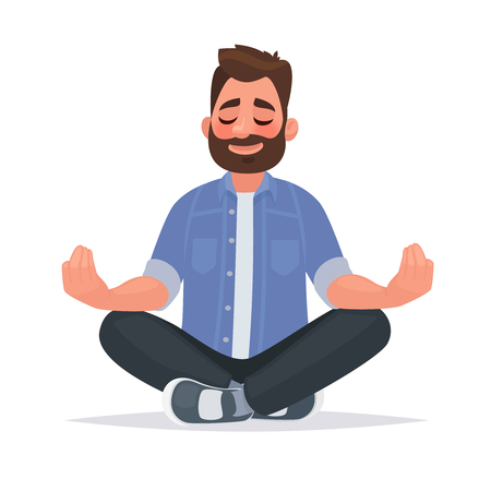 Meditating man over isolated background. Keep calm. Vector illustration in cartoon style Ilustração
