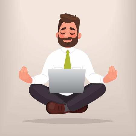 Businessman doing yoga. The concept of meditation. Calm at work, finding solutions in business. Vector illustration in cartoon style Ilustração