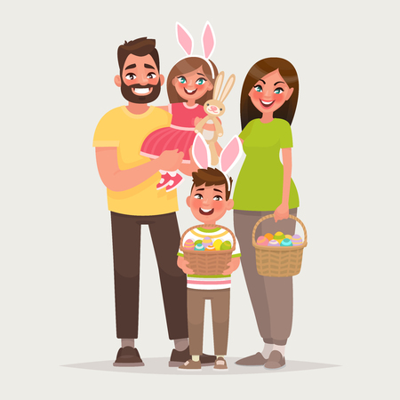 Happy easter. Cheerful family with baskets full of eggs. Dad, mom, son and daughter celebrate a religious holiday together. Vector illustration in cartoon style. Illustration