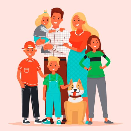 Happy large family. Mom, Dad, children and pet. Illustration in flat style.