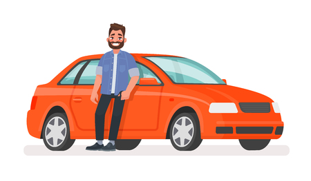 Happy successful man is standing next to a red car on a white background. Vector illustration in cartoon style
