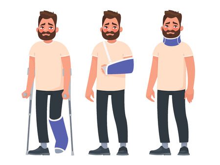 Set of sad character man with injuries. Fracture or dislocation of the leg, arm, neck damage. Person with a gypsum and a fixing collar. Broken limbs. Consequences of the accident. Vector illustration Illustration