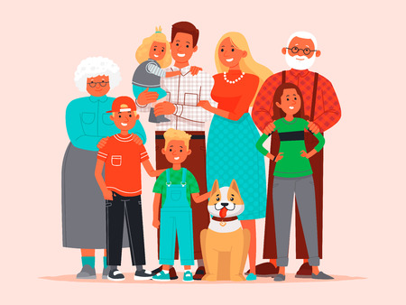 Big happy family. Father, mother, children, grandmother and grandfather,pet dog together. Vector illustration in flat style