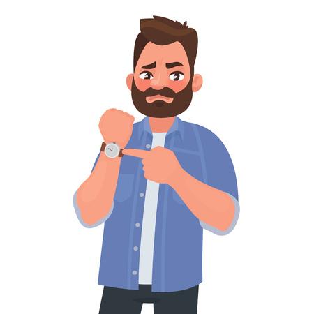 L'uomo insoddisfatto mostra sull'orologio. Sbrigati. Scadenza. Capo impaziente. Illustrazione vettoriale in stile cartone animato Vettoriali