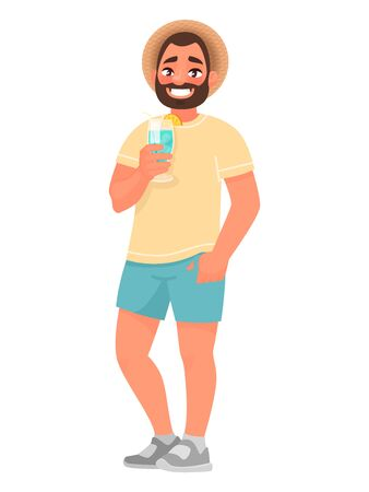 Tourist man in a hat and with a cocktail in his hands. Visitor to the resort. Vector illustration in cartoon style.