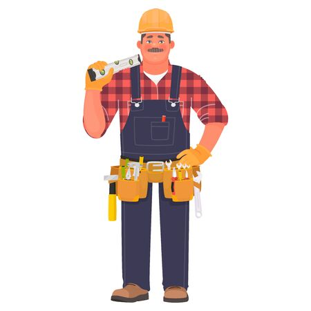 Builder man in a hard hat and with tools. Foreman or construction worker on a white background. Vector illustration in cartoon style Vetores