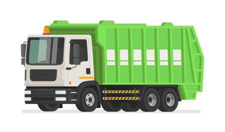 Garbage truck on a white background. Waste collection vehicle. Vector illustration in flat style