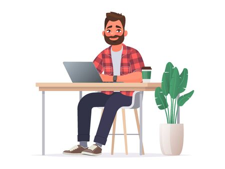 Business man at the desktop with a laptop. Freelancer or office worker. Vector illustration in cartoon style.