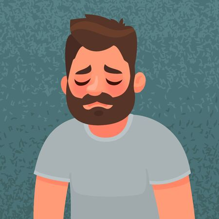 Upset and unhappy  man. Sad expression. The concept of grief and loneliness.
