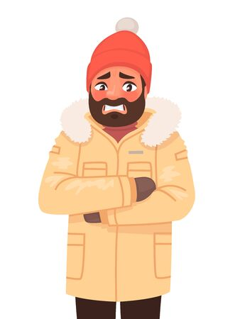 The man is frozen and trembling. Cold weather. Winter. Vector illustration in cartoon style