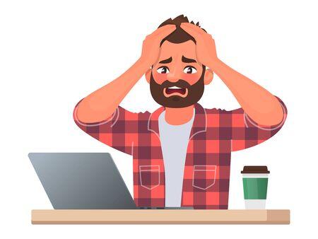 Stress oder Deadline bei der Arbeit. Ein Geschäftsmann hielt sich panisch an den Kopf. Die schlechten Nachrichten. Vektorillustration im Cartoon-Stil