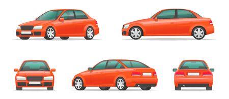 Ensemble d'angles différents d'une voiture rouge. Berline sport urbaine vue de côté, avant, arrière et de profil. Véhicule pour votre projet. Illustration vectorielle en style cartoon Vecteurs