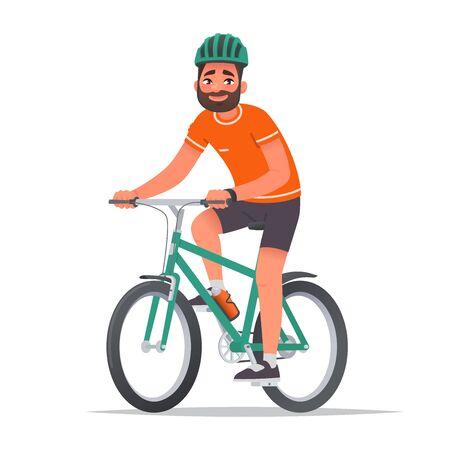Happy man dressed in sportswear and a helmet rides a bicycle. Bike ride. Cyclist. Leisure and Active holiday. Vector illustration in cartoon style Ilustração