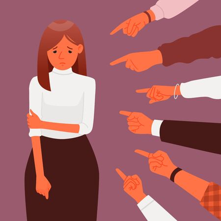 Public censure or blame. Victim of ridicule and shame. The concept of condemnation and bullying. Harassment. A lot of hands point to a sad depressed woman.. Vector illustration in a flat style