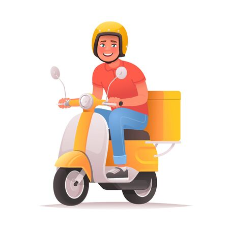 Fast and free delivery. Cheerful courier rides a scooter and carries pizza. Food service. Vector illustration in cartoon style
