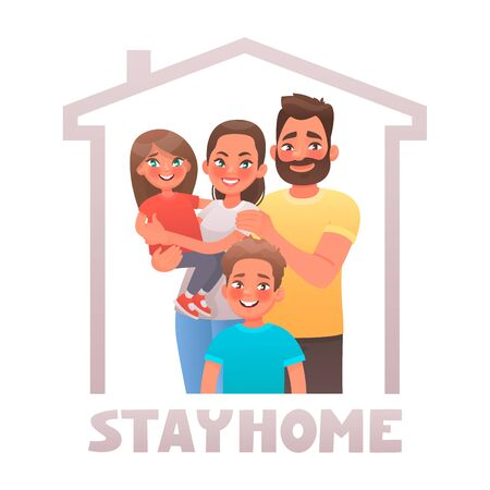 Stay at home. Parents and children in quarantine. Family under the roof of the house. Motivational poster aimed at reducing the spread of coronavirus Covid-19. Vector illustration in cartoon style Çizim