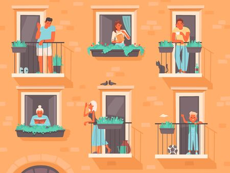 Neighborhood concept. People stand on balconies or look out of windows. The neighbors of an apartment building. Life in big cities. Vector illustration in a flat style