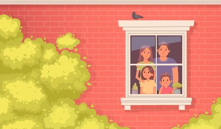 Family quarantined. Mom, dad, daughter and son look sadly out the window of the house. Stay at home. Vector illustration in cartoon style Illusztráció