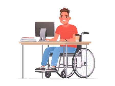 Happy disabled man sitting in a wheelchair at a desk at a computer. Handicapped person at work. Vector illustration in cartoon style Vettoriali