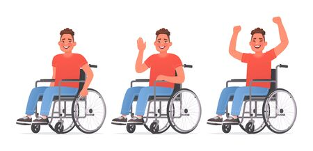 Set of character a young man with disabilities. Happy guy in a wheelchair. Disabled. Vector illustration in cartoon style Vector Illustratie