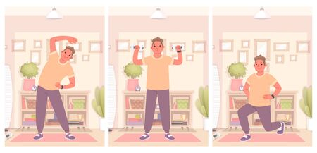 Happy man is engaged in fitness and does exercises at home. Maintaining a healthy and active quarantined lifestyle. Vector illustration in a flat style Illustration