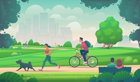 People walk, run and ride a bike in a city park. Active lifestyle in urban environments. Outdoor leisure. Vector illustration in cartoon style Ilustración de vector