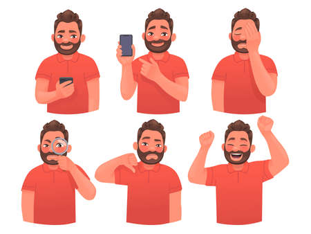 Set of character bearded man with different gestures and emotions. The guy with the phone, shows, facepalm, dislike, joy. Company employee or consultant. Vector illustration in cartoon style