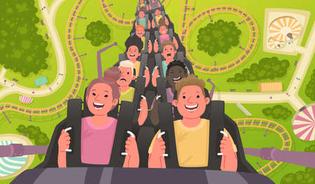 Happy and excited people ride a roller coaster. Amusement park with attractions. Vector illustration in a flat style. Çizim