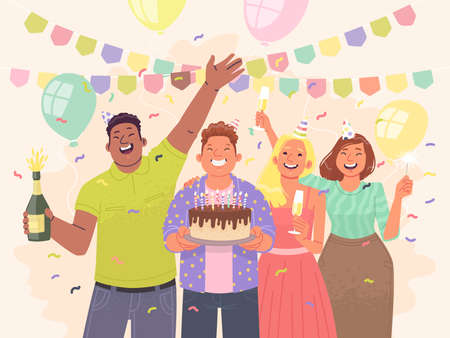 Happy friends are celebrating a birthday. Guys and girls have fun at the party. Vector illustration in flat style