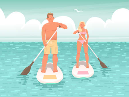 Happy couple of young people swim on stand up paddle board. A man and a woman hold oars in their hands and stand on a surfboard while floating on the water. Vector illustration in flat style