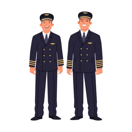 Two pilots of a passenger plane are wearing uniforms. Ship captain and co-pilot, airline employees on a white background. Vector illustration in flat style