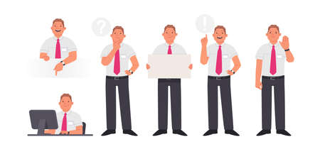 Set of character manager or employee of the company in various actions. Smiling man at desktop, thinks, an idea and shows a gesture stop. Vector illustration in flat style