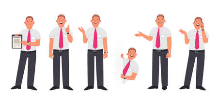 Set of character manager or employee of the company in various actions. A smiling man shows a contract, gestures, peeps and speaks on the phone. Vector illustration in flat style 矢量图像