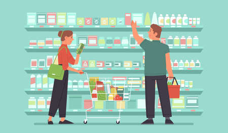 Happy woman and man, shoppers in a grocery market are choosing food on the shelves. Supermarket customers. Vector illustration in flat styl Vetores