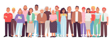 Diverse and multicultural group of people against a white background. A crowd of happy characters, young, adult and older men and women. Vector illustration in flat style Vecteurs