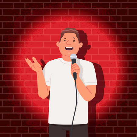 Stand up comedian performance. Comedy show. A man with a microphone in his hands tells funny stories in public. Vector illustration in flat style