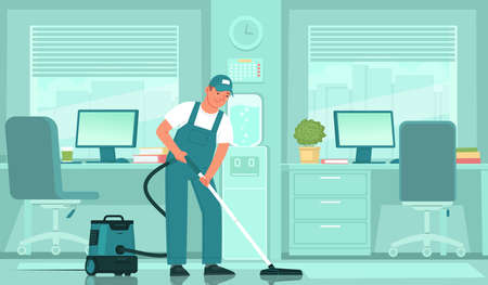Cleaning service. A male cleaner in uniform vacuums the floor in an office space. Vector illustration in flat style Ilustración de vector