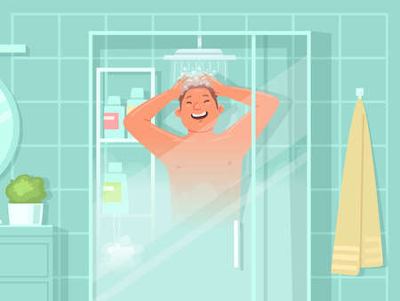 Happy man washes in the shower. Daily hygiene procedures. Vector illustration in flat style