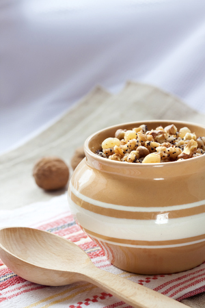 eastern european: Kutia - sweet grain pudding, the traditional first dish of Christmas Eve supper served in Eastern European countries Stock Photo