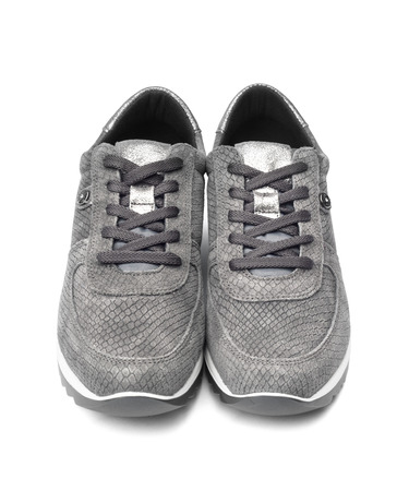 footware: Gray female suede sneakers isolated on white background with clipping path