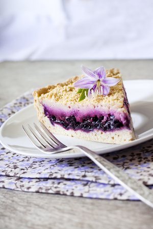 Piece of blueberry cake on a plate decorated with a purple flower