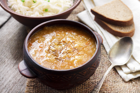 Kapustnyak - traditional Ukrainian winter soup with sauerkraut and millet, obligatory dish on the Christmas Eve table