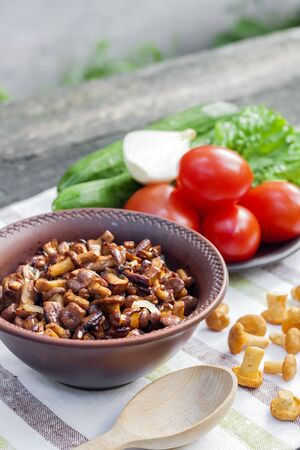 Fried wild forest mushrooms chanterelles with onion in rustic bowl and plate with fresh vegetables for salad on background