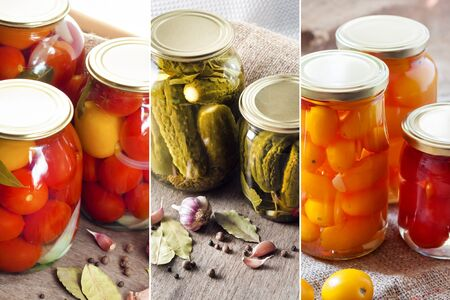 Collage of homemade canned vegetables in glass jars