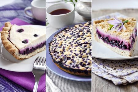 Collage of sweet pastry with blueberries