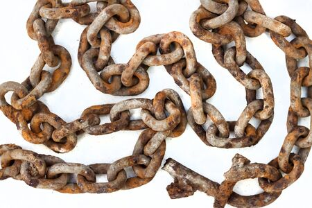 Large old rusty chain on white background Banco de Imagens