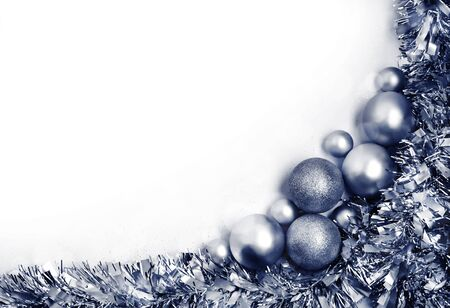 Christmas composition in a shape of corner with silver balls. Christmas, new year concept. Flat lay, top view, copy space Фото со стока