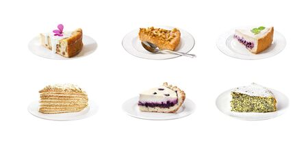 Collage of various sweet cakes on plates isolated on white background Stock Photo